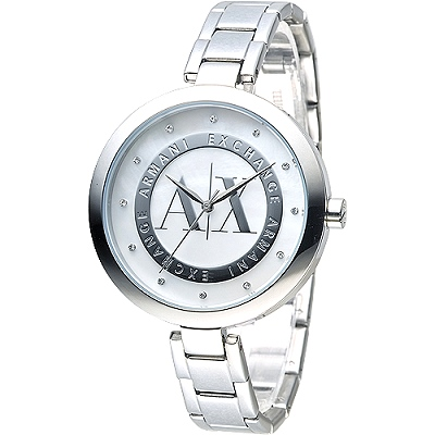 A│X Armani Exchange美麗傾城時尚晶鑽女錶(AX4223)-銀白/39mm