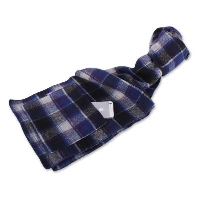 Yahoo!寶藍格紋保暖圍巾