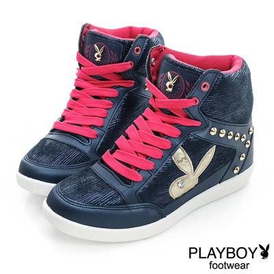 PLAYBOY-率性潮流-個性鉚釘內增高休閒鞋-藍-女