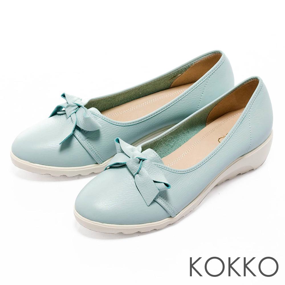 KOKKO台灣手工- 超輕量蝴蝶結牛皮楔型鞋- 淡藍