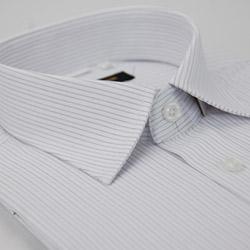 金‧安德森 白底紫細條紋窄版短袖襯衫