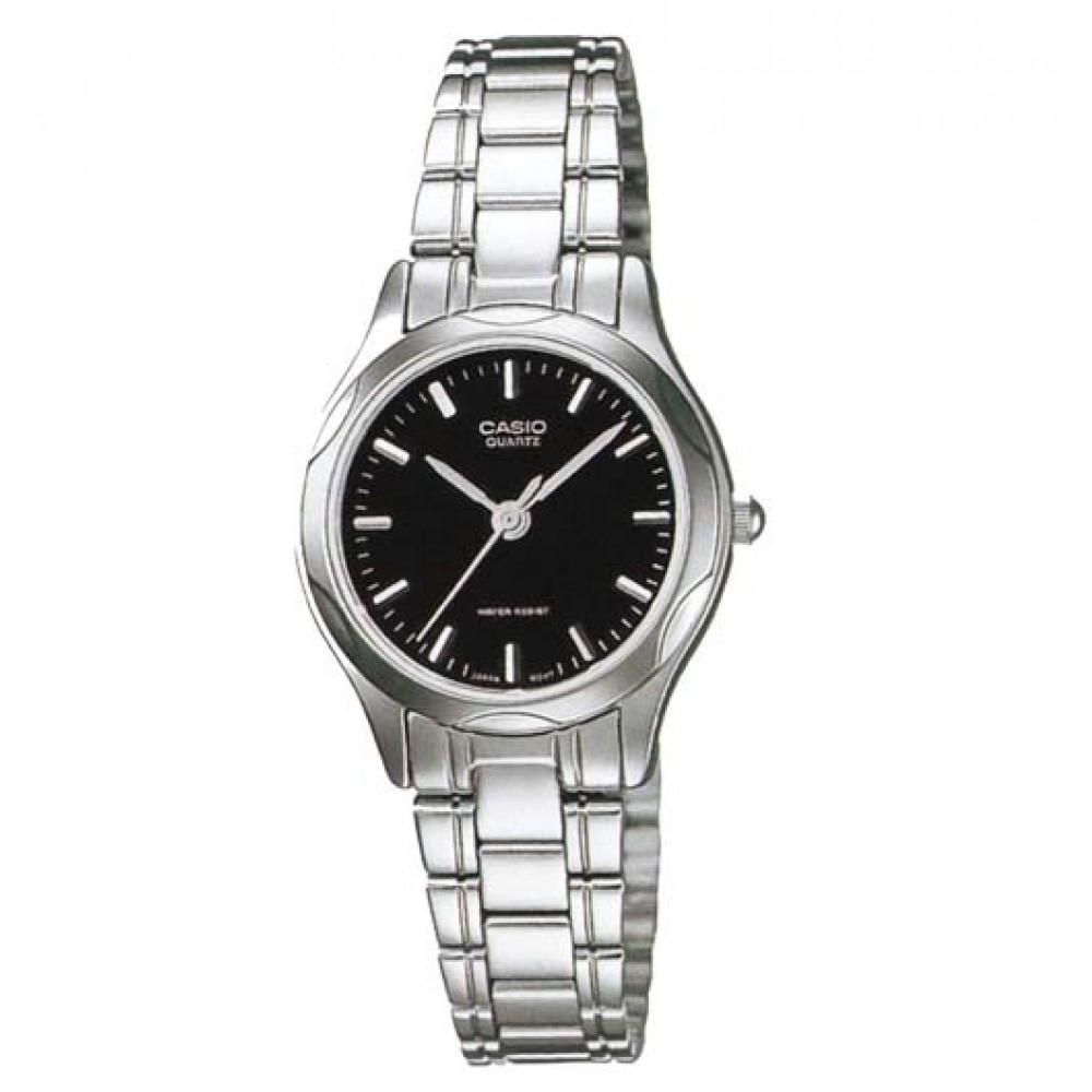 CASIO 時尚輝煌指針淑女錶(LTP-1275D-1A)-黑色丁字面/25mm
