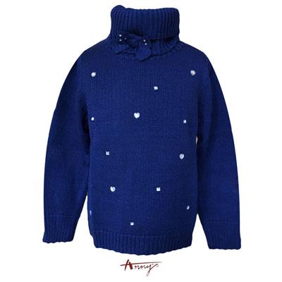 Annys華麗水鑽可拆領蝴蝶結毛衣上衣*5639藍