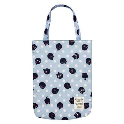 小襪貓貓咪黑圓點系列棉布手提袋。藍