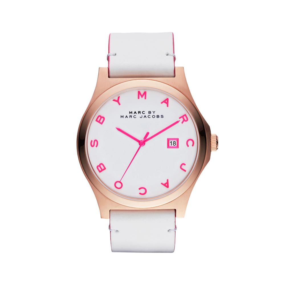 Marc Jacobs 彩豔時代品牌腕錶-白/桃紅時標/44mm