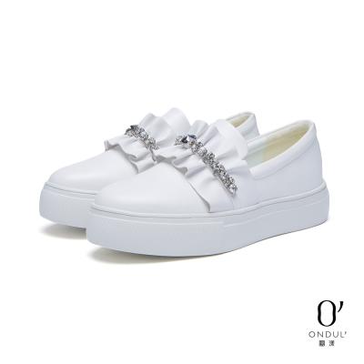 達芙妮x高圓圓-圓漾系列-休閒鞋-荷葉邊水鑽厚底懶人鞋-白8H