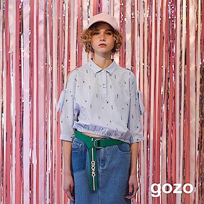gozo 挖肩綁帶襯衫領五分袖上衣(淺藍)