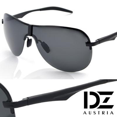 DZ 長方飾圓弧半框 抗UV 偏光太陽眼鏡墨鏡(酷黑系)