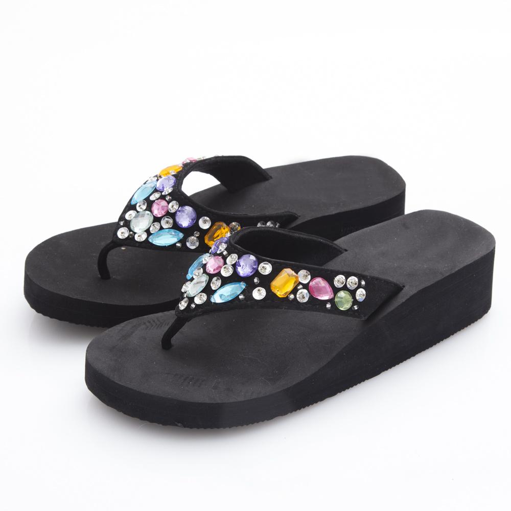 JMS-閃耀亮彩鑽飾厚底夾腳楔型海灘拖-黑色
