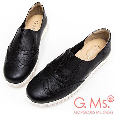 G.Ms. MIT系列-馬卡龍色系牛津免綁帶牛皮白底休閒鞋-黑色
