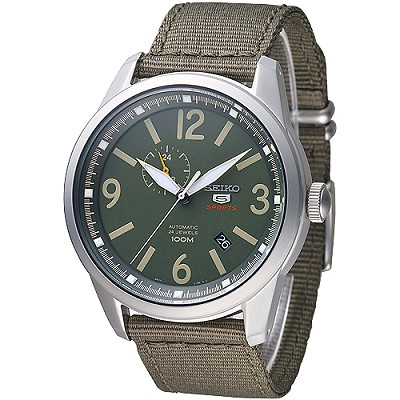 SEIKO 野戰運動風5號24石自動機械錶(SSA299K1)-軍綠/43mm