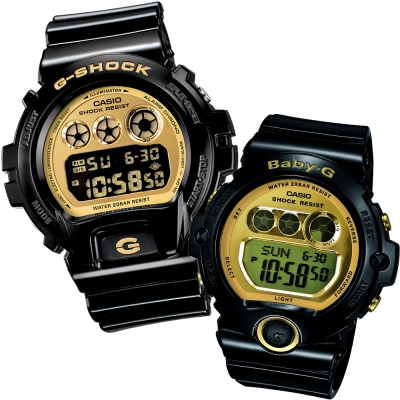 CASIO搖滾前衛閃耀光澤運動休閒錶(DW-6900CB-1+BG-6901-1)