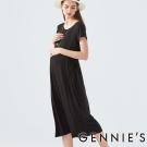 Gennies奇妮-嫘縈腰間綁帶長洋-(C1D28-黑)