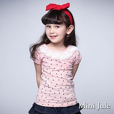 Mini Jule 童裝-上衣 蕾絲領小花短袖T恤(豆粉)