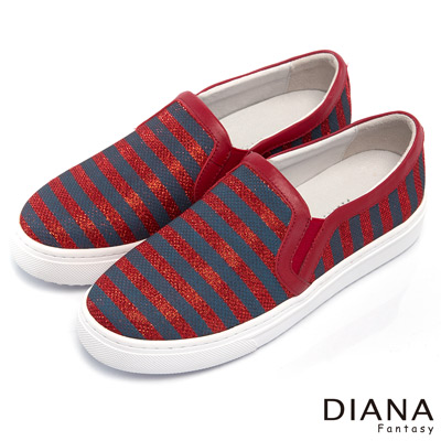 DIANA 百搭原色--經典雙色條紋懶人厚底鞋-紅