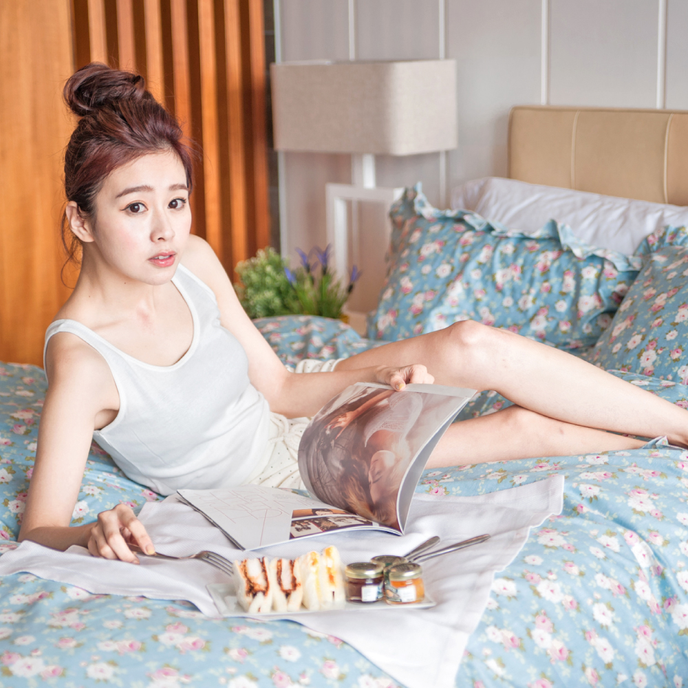 小春日和 台灣製 精梳純棉  雙人薄被套床包枕套四件組 翔仔居家