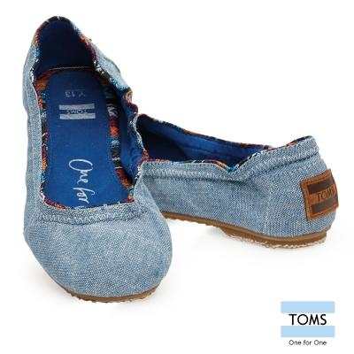 TOMS 丹寧芭蕾娃娃鞋-孩童款(藍)