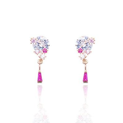 微醺禮物 正韓 鍍K金 鋯石 圓鋯 桃紅色 粉紅色 小鑽點綴 小垂墜 耳針 耳環