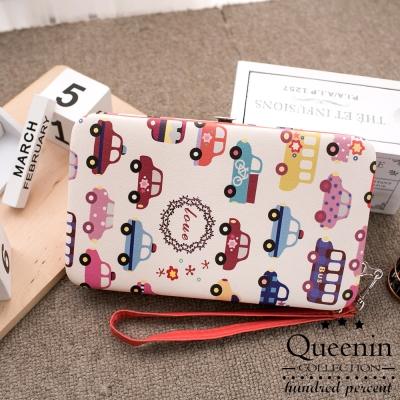 DF Queenin皮夾 - 韓版萌萌系硬殼式手機手拿包-可愛汽車