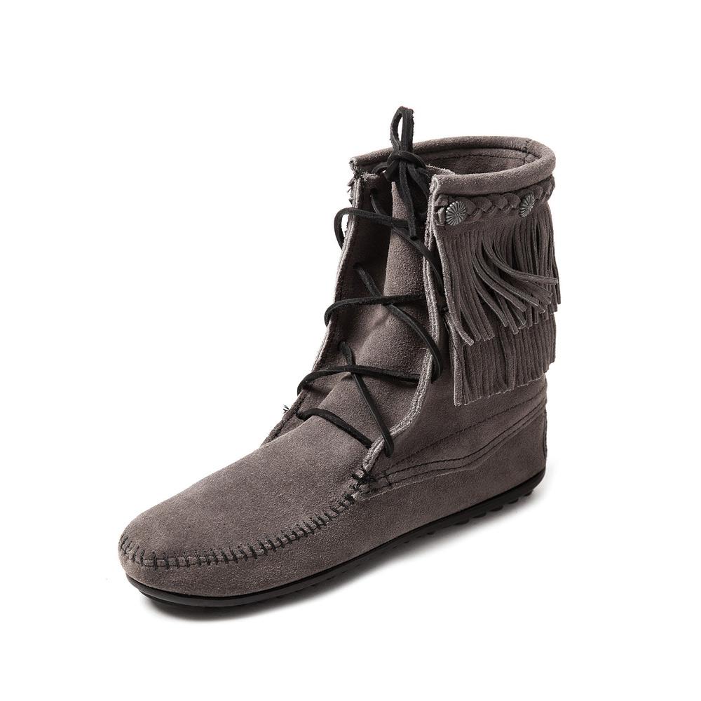 MINNETONKA-DOUBLE FRINGE綁帶雙層流蘇短靴-灰色
