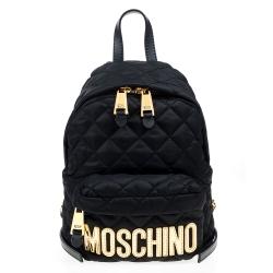 MOSCHINO 菱格車縫金色字母尼龍後背包 (小/黑色)