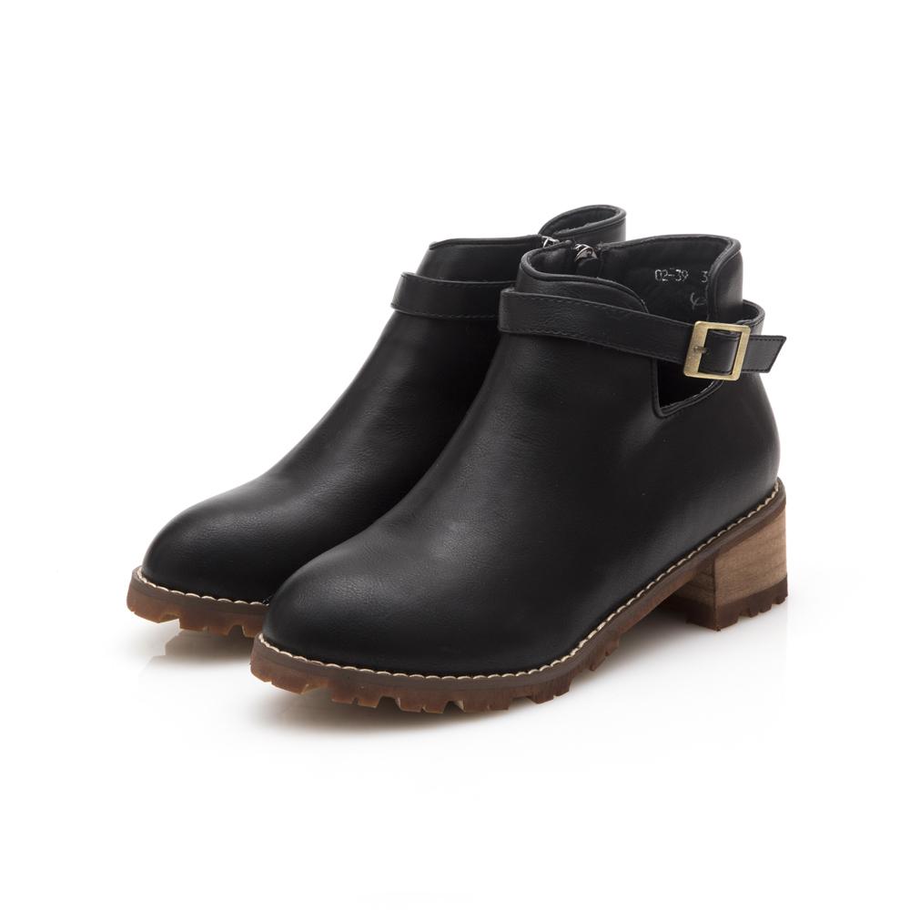JMS-品味極致側鏤空皮帶環踝短踝靴-黑
