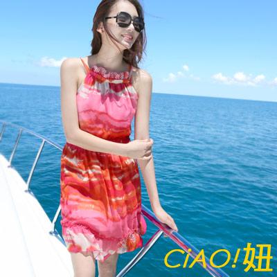 鮮豔炫染條紋露肩雪紡洋裝  (艷染色)-CiAO妞
