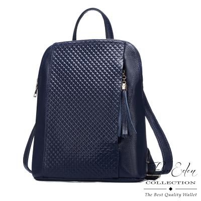 DF Flor Eden - 歐風菱格紋流蘇真皮款3WAY後背包-共2色