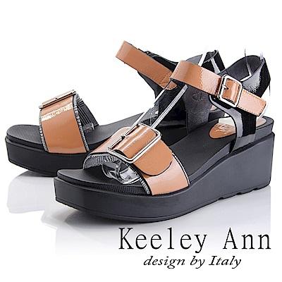 Keeley Ann 俐落時尚~金屬飾釦拼接千鳥格紋涼鞋(橙色-Asin系列)