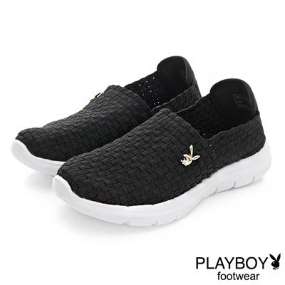 PLAYBOY 炫彩時尚 輕量編織休閒便鞋-黑(女)