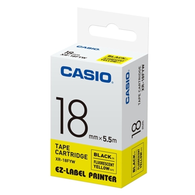CASIO  標籤機專用特殊色帶-18mm(瑩光色材質)瑩光黃底黑字-XR-18FYW1