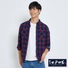 EDWIN EDOKATSU江戶勝藍格修身襯衫-男-紅色