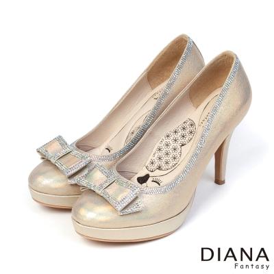 DIANA-超厚切LADY款-耀眼迷人新娘跟鞋-金