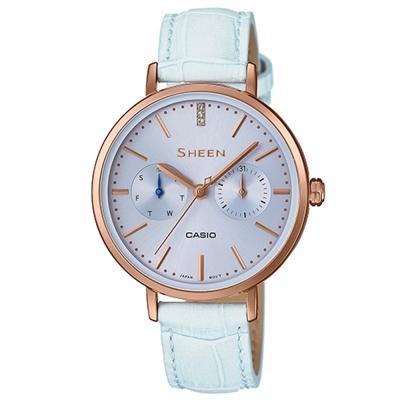 SHEEN粉嫩色系現代簡約風格指針腕錶(SHE-3054PGL-2)粉藍面35mm