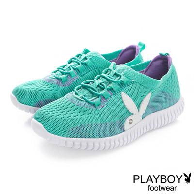 PLAYBOY 動感織心 襪套假綁帶輕量慢跑運動鞋-藍綠(女)