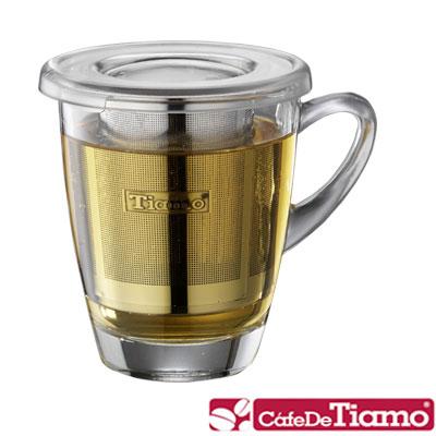 Tiamo 玻璃馬克杯320cc-附PC防塵蓋+不銹鋼濾網(HG2272)