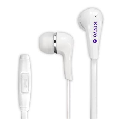 KINYO智慧型手機耳麥IPEM621-時尚白