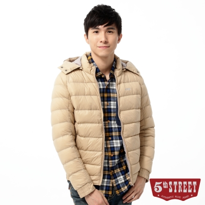 5th-STREET-羽絨-多彩輕量羽絨外套-男-灰卡其