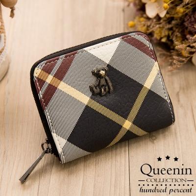 DF Queenin皮夾 - 蘇格蘭風情格紋系小熊短夾-黑色