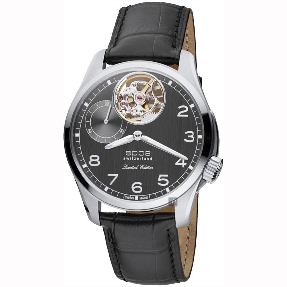 epos愛寶時 鏤空小秒針限量手上鍊機械錶-灰x黑/45mm