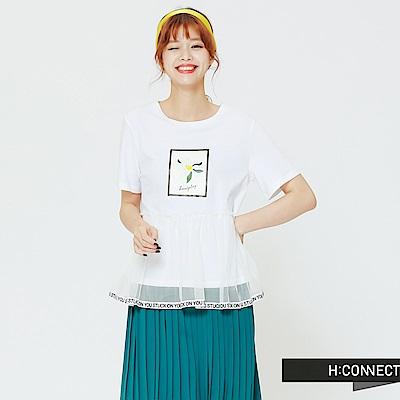 H:CONNECT 韓國品牌 女裝 - 蕾絲拼接短上衣-白