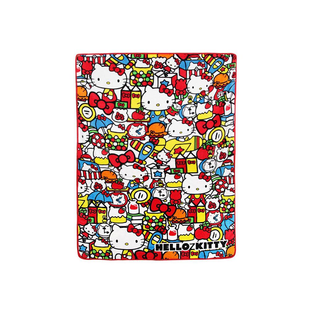 Sanrio HELLO KITTY單人大尺寸刷毛薄毛毯(繽紛生活)