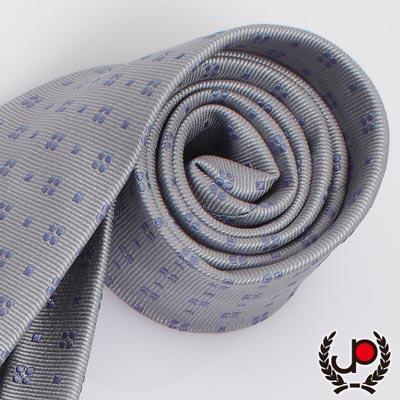 極品西服-紳士小花灰底絲質領帶(YT0108)