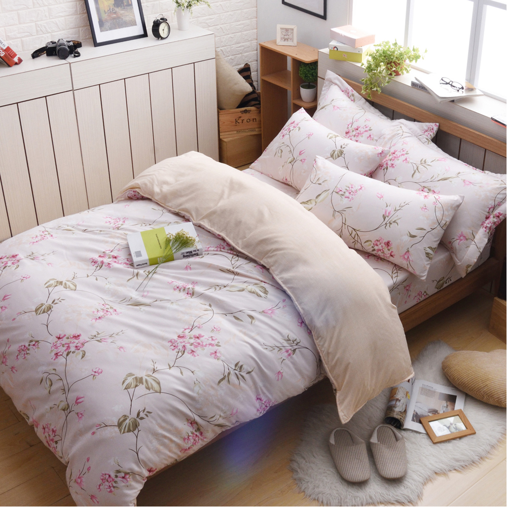 日本濱川佐櫻-幸福愛戀 文青風柔絲絨雙人四件式全鋪棉兩用被床包組