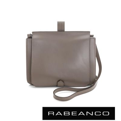RABEANCO-迷時尚牛皮系列翻蓋方塊斜背包-灰卡其