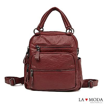 La Moda 通勤必備單品大容量多種背法肩背斜背後背包(紅)
