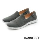 HANNFORT ZERO GRAVITY真皮套入式氣墊休閒鞋-女-個性灰