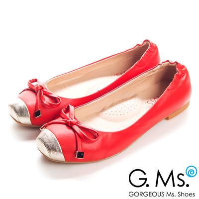 【G.Ms.】經典Dolly‧金屬拼接方頭蝴蝶結全平底娃娃鞋‧熱情紅
