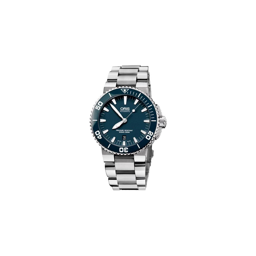 Oris Aquis 時間之海300米潛水機械腕錶-藍/43mm
