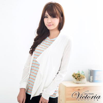 Victoria 短版異素材剪接開襟外套-女-白色